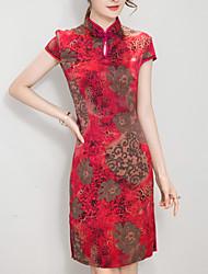 Women's Vintage Print Plus Size Dress,Stand Knee-length Silk