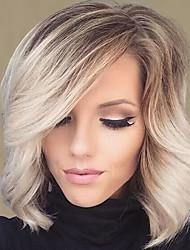 естественные волнистые очаровательные парики с челкой девственной человеческих волос смешанный цвет 14 дюймов