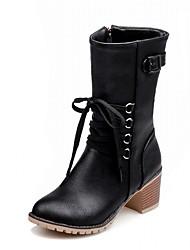 Feminino-Botas-Plataforma Inovador Botas de Cowboy Botas de Neve Botas da Moda-Salto Grosso Plataforma-Preto Cinza Amêndoa-Couro