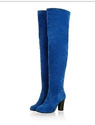 Damen-Stiefel-Outddor-PU-Blockabsatz-Modische Stiefel-Schwarz / Blau / Grau