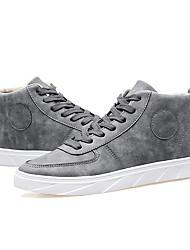 Men's Flats   Comfort / Round Toe / Closed Toe  Casual Flat Heel Lace-up Black / Gray / Khaki