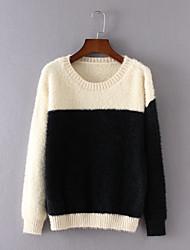 Damen Standard Pullover-Lässig/Alltäglich Einfach Einfarbig Rosa / Weiß / Beige Rundhalsausschnitt Langarm Baumwolle Herbst Mittel