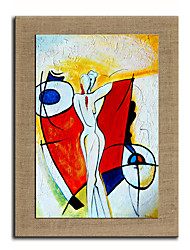Oil Painting Modern Abstract People Dance Hand Painted Natural Linen With Stretched Frame