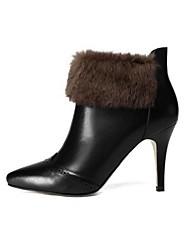 Damen-Stiefel-Outddor-Leder-Stöckelabsatz-Modische Stiefel-Schwarz