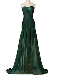 Formal Evening Dress Trumpet / Mermaid Sweetheart Sweep / Brush Train Chiffon with Beading / Pleats