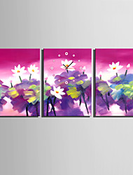 E-HOME® Lotus Pond Clock in Canvas 3pcs
