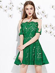 Trapèze Robe Femme Sortie Mignon,Mosaïque Col Arrondi Au dessus du genou Manches Courtes Rose / Vert Polyester Eté Taille NormaleNon