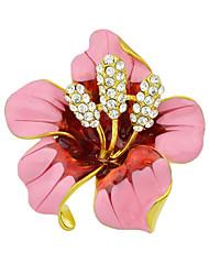 forma bonito do cristal de rocha do esmalte grandes broches de flores para as mulheres