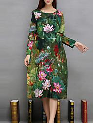 Ample Robe Femme Décontracté / Quotidien Chinoiserie,Imprimé Col Arrondi Midi Manches Longues Vert Lin Toutes les Saisons Taille Normale