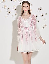 Trapèze Robe Femme Sortie Mignon,Imprimé Col en V Au dessus du genou Manches ¾ Blanc Polyester Automne Taille Haute Non Elastique Moyen