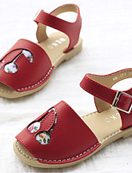 Girl's Sandals Summer Sandals / Open Toe Cowhide Casual Flat Heel Flower Red / White Others