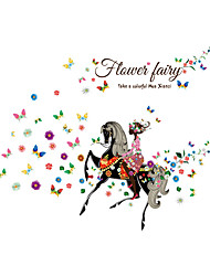 Wall Stickers Wall Decals Style Riding a Horse Flower Fairy PVC Wall Stickers