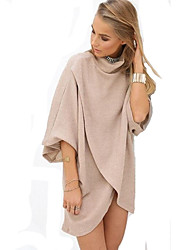 Women's Popular Going out Loose Dress Solid Turtleneck Asymmetrical  Length Sleeve