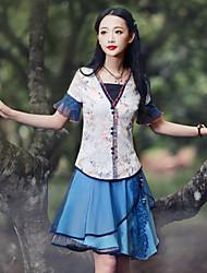 Tee-shirt Femme,Fleur Sortie Chinoiserie Eté Manches Courtes Sans Bretelles Bleu Rayonne / Nylon / Spandex Moyen