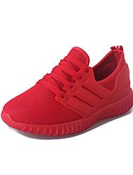 As mulheres de sapatos de corrida de atletismo primavera / outono conforto tule ocasional calcanhar plana preto / sapatilha vermelha
