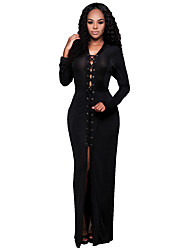 Women's Party Sexy Sheath Dress Solid V Neck Maxi Long Sleeve