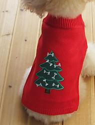 Cat Dog Sweater Dog Clothes Winter Spring/Fall Snowflake Keep Warm Christmas New Year's Black Yellow Red Blue