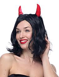Devil Black Short Wavy Halloween Wigs Synthetic Wigs Costume Wigs