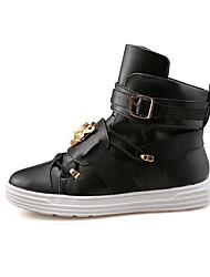 Herrenstiefel Herbst / Winter Komfort-PU-beiläufige flache Ferse Slip-on schwarz / rot / weiß Sneaker