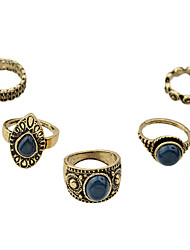 Anéis Fashion Pesta / Diário Jóias Liga Feminino Anéis unha 1conjunto,8 Dourado