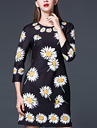 Women's Going out chic Sheath Dress,Print Round Neck Above Knee ½ Length Sleeve Blue/Red/Yellow Others Spring/Fall
