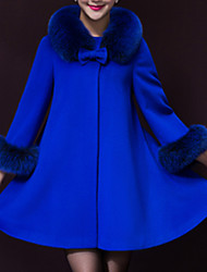 Women's Party/Cocktail Vintage Cloak/Capes,Solid Round Neck ¾ Sleeve Winter Blue / Yellow Wool / Polyester Thick