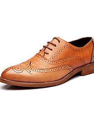 Westland's Men's Oxfords/Leather/Brogues/Bullock/Business Style/Casual Dress/Classic /Black/Yellow