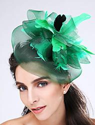 Women's Feather / Net Headpiece-Wedding / Special Occasion Fascinators 1 Piece Coffee / Black / Green / Gray