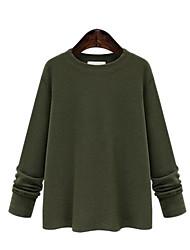 Damen Solide Street Schick Lässig/Alltäglich / Übergröße T-shirt,Rundhalsausschnitt Frühling / Herbst Langarm Schwarz / Grün Baumwolle