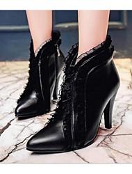 Черный-Женский-Для прогулок-Кожа-На шпильке-Военные ботинки-Ботинки