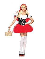 Costumes Fairytale Costumes / Movie & TV Theme Costumes Halloween Red Patchwork Terylene Dress / Socks / Earring