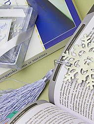 Winter / Xmas Themed Silver-Metal Bookmark with Elegant Silk Tassel Wedding Party Keepsakes