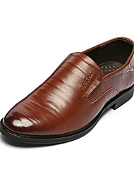 Men's Oxfords Spring / Fall Comfort / Pointed Toe Cowhide Office & Career / Casual Low Heel Lace-up Black / Brown Others