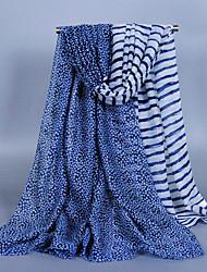 Women's Fashion Voile Flowers Stripe Print Cotton Scarf Green/Khaki/Gray/Watermelon/Beige/Black/Navy Blue/Wine