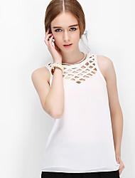Zebra® DESPIDA Feminino Decote Redondo Sem Mangas Vest & Colete Preta / Branco / Vermelho / Amarelo-LT6060CH