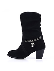 Women's Boots Fall / Winter Fashion Boots Casual Chunky Heel Chain Black / Red / Gray Others