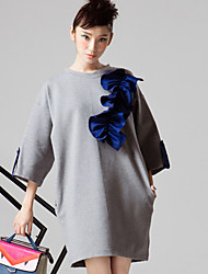 ROOM404  Women's Going out Simple Loose DressSolid Round Neck Above Knee Sleeve