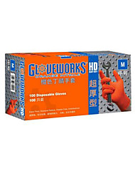 Thick Durable Disposable Nitrile Gloves Orange Size  M