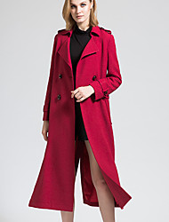 BORME Women's Shirt Collar Long Sleeve Trench Coat Burgundy-Y056