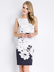 Boutique S Women's Going out Vintage / Chinoiserie Sheath Dress Floral Round Neck Above Knee Sleeveless Polyester