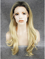 IMSTYLE 24Natural Wave High Quality Bleach Blond Synthetic Wigs Lace Front With Brown Root