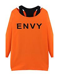 Damen Buchstabe Retro Lässig/Alltäglich T-shirt,Rundhalsausschnitt Alle Saisons Langarm Grau / Orange Polyester Mittel