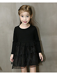 Girl's Casual/Daily Solid DressCotton / Rayon Spring / Fall Black