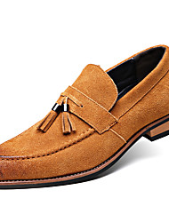 Men's Loafers & Slip-Ons Comfort Leather / Suede Office & Career / Casual Flat Heel Slip-on / TasselBlack