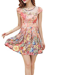 Women's Simple Floral A Line Dress,Round Neck Mini Polyester