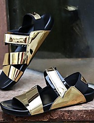 Men's Sandals Summer Sandals PU Casual Flat Heel Others Black / White / Silver / Gold Others