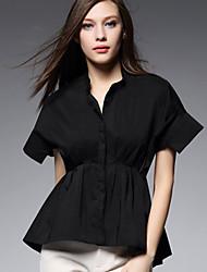 AJIDUO® Feminino Colarinho Chinês Manga Curta Shirt & Blusa Preta / Branco-A9333