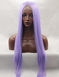 Fashion Long Straight Synthetic Lace Front Wig Glueless Purple Color For Afro Women Wigs