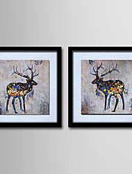 Modern Wall Art Pictures Abstract Oil Painting Deer Hand-Painted On Canevas Home Decoration Painting With Frame