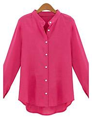 Feminino Camisa Casual Simples Todas as Estações,Sólido Azul / Vermelho Raiom / Poliéster Colarinho Chinês Manga Longa Fina